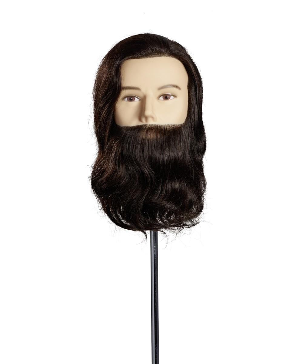 Cap Manechin cu Barba Max, 25cm, Par Natural, Maro